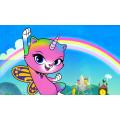 Радужно бабочковая единорожная кошка